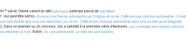 D�finition admissible ACAD 1986