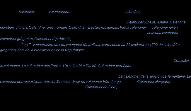 Calendrier Definition.Calendrier La Definition