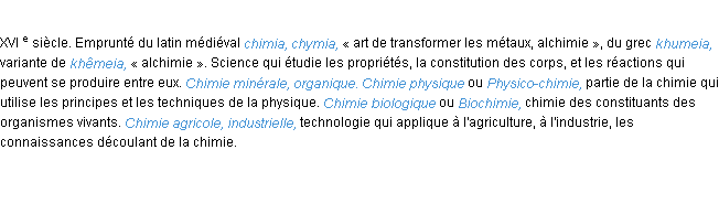 D�finition chimie ACAD 1986