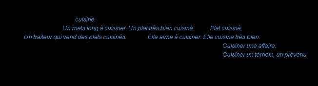 cuisiner : la définition