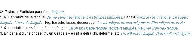D�finition fatigue ACAD 1986