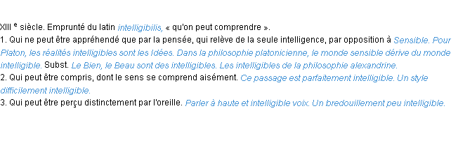 Définition intelligible ACAD 1986