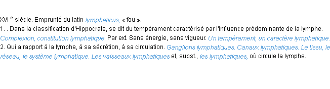 Lymphatique la d finition for Passif synonyme