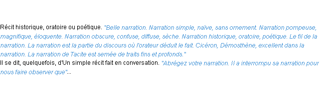 Définition narration ACAD 1835