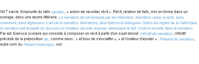 Définition narration ACAD 1986