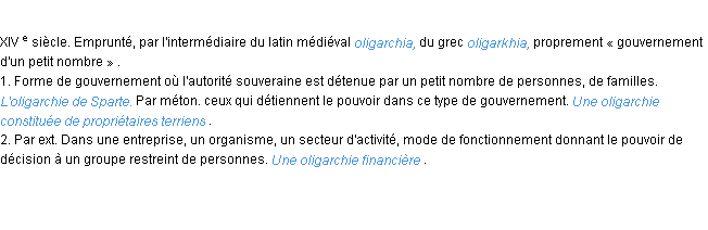 Définition oligarchie ACAD 1986