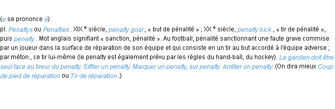 Définition penalty ACAD 1986