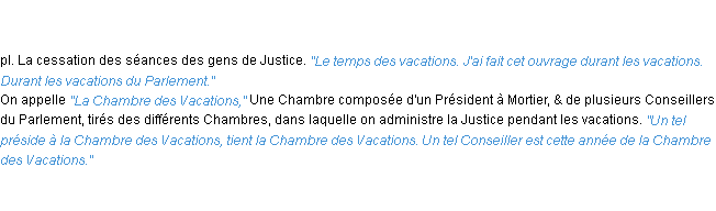 Définition vacations ACAD 1762