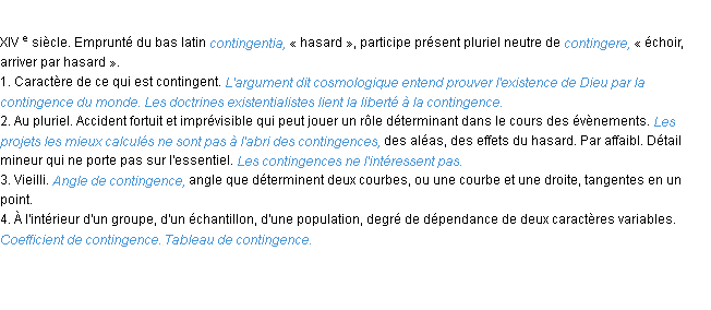 Définition contingence ACAD 1986